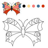 Coloring book. coloring butterfly for kids in a Royalty Free Stock Image