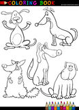 Cartoon Dogs or Puppies for Coloring Book Stock Photo