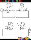 Cartoon Dogs with cards Coloring Page Stock Photography