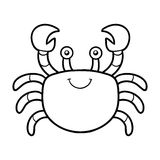 Coloring book, coloring page (crab) Stock Images