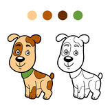 Coloring book, coloring page (dog) Stock Images