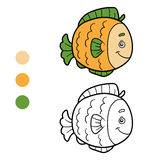Coloring book, coloring page (fish) Royalty Free Stock Photo