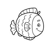 Coloring book, coloring page (fish). Coloring book for children (fish Stock Images
