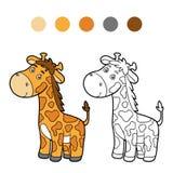 Coloring book, coloring page (giraffe) Stock Photos