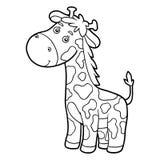 Coloring book, coloring page (giraffe) vector illustration