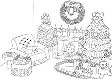 Free Coloring Book, Coloring Page Of Zentangle Stylized Christmas Tree,fireplace,armchair For Santa Clause, Christmas Wreath And Presen Stock Images - 132647724