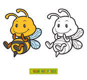 Coloring book, coloring page with a small bee Royalty Free Stock Photography