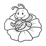 Coloring book, coloring page with a small bee Stock Images