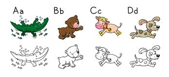 Animals alphabet or ABC. Coloring book. Coloring book or coloring picture of funny alligator, bear, cow and dog. Animals zoo alphabet or ABC Stock Photography
