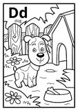 Coloring book, colorless alphabet. Letter D, dog. Coloring book for children, colorless alphabet. Letter D, dog Royalty Free Stock Images