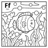 Coloring book, colorless alphabet. Letter F, fish Stock Photo