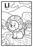 Coloring book, colorless alphabet. Letter L, lion. Coloring book for children, colorless alphabet. Letter L, lion Stock Photos