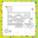 Coloring book computer - vector illustration Stock Photo
