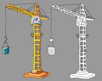 Coloring book with construction crane highrise Stock Photography
