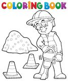 Coloring book construction worker 3 Royalty Free Stock Images