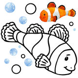 Coloring book coral reef fauna. Cartoon fish illustration for kid Entertainment Stock Photography