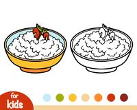 Coloring book, Cottage cheese with berries in a bowl. Coloring book for children, Cottage cheese with berries in a bowl stock illustration