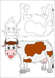 Coloring book-cow. Coloring cow animal farm nature children kids stock illustration