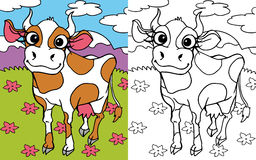 Coloring book cow stock images