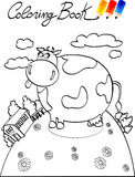 Coloring book, cow farm royalty free stock photography