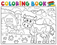 Coloring book cow near farm theme 1 Royalty Free Stock Photo