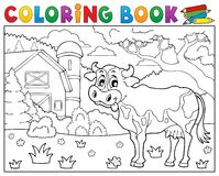 Coloring book cow near farm theme 2 Royalty Free Stock Photo