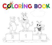 Coloring Book Cow, pig and bee on the podium Stock Photo