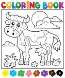 Coloring book cow theme 2 Royalty Free Stock Photography