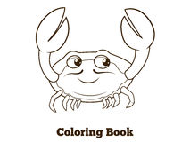 Coloring book crab cartoon educational Stock Photography