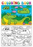 Coloring book crocodile image 2 Stock Photos