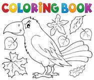 Coloring book with crow and leaves. Eps10 vector illustration Royalty Free Stock Photo