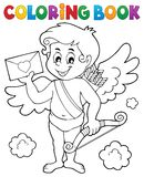 Coloring book Cupid holding envelope Royalty Free Stock Images