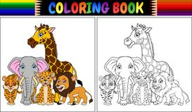 Coloring book with cute african animals. Illustration of Coloring book with cute african animals Royalty Free Stock Images