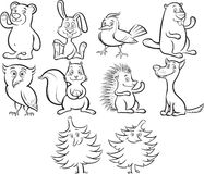 Coloring book cute cartoon forest animals Stock Image
