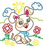 Coloring Book Of Cute Doggy. On a flower meadow Stock Photo