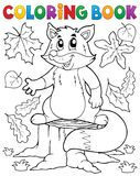 Coloring book cute fox theme 1 Royalty Free Stock Photography