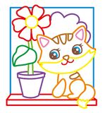 Coloring Book Of Cute Kitten. Coloring book of cute red kitten with a flower Stock Photos