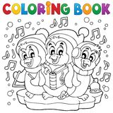 Coloring book cute penguins 4 Stock Photos