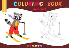 Coloring book. Cute raccoon on skiing . Cartoon vector illustration. For children education Royalty Free Stock Photos