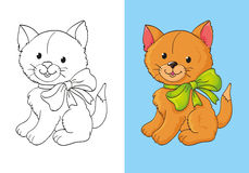 Coloring Book Of Cute Red Kitten With Bow. Vector illustration cute red kitten with green bow for coloring page for kids Royalty Free Stock Images