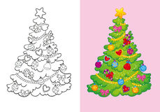 Coloring Book Of Decorated Christmas Tree Stock Images