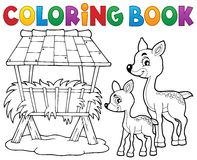 Coloring book deer theme 3 stock illustration