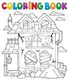 Coloring book derelict house theme 1 Stock Photography