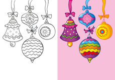 Coloring Book Of Different Christmas Decoration Stock Images