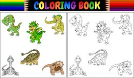 Coloring book with dinosaur cartoon collection Royalty Free Stock Photography