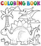 Coloring book dinosaur theme 1 Royalty Free Stock Images
