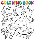 Coloring book DJ boy stock illustration