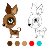 Coloring book  dog breed Chihuahua with pink cheeks and big eyes, kids layout for game Royalty Free Stock Photo