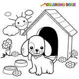 Coloring book dog outside doghouse. Black and white outline image of a dog standing outside his doghouse. Coloring book page stock illustration