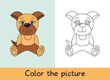 Coloring book. Dog pet. Cartoon animall. Kids game. Color picture. Learning by playing. Task for children royalty free illustration